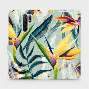 Flipové pouzdro Mobiwear na mobil Xiaomi Redmi 9 - MC02S Žluté velké květy a zelené listy