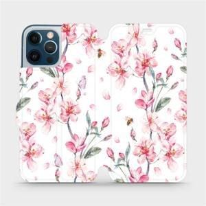 Flipové pouzdro Mobiwear na mobil Apple iPhone 12 Pro Max - M124S Růžové květy