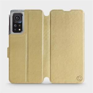 Flipové pouzdro Mobiwear na mobil Xiaomi MI 10T Pro v provedení C_GOS Gold&Gray s šedým vnitřkem