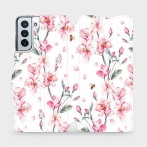 Flipové pouzdro Mobiwear na mobil Samsung Galaxy S21 Plus 5G - M124S Růžové květy