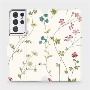 Flipové pouzdro Mobiwear na mobil Samsung Galaxy S21 Ultra 5G - MD03S Tenké rostlinky s květy