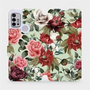 Flipové pouzdro Mobiwear na mobil Motorola Moto G10 - MD06P Růže a květy na světle zeleném pozadí