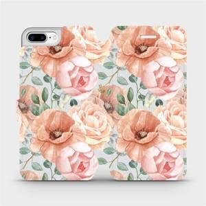 Flip pouzdro Mobiwear na mobil Apple iPhone 7 Plus - MP02S Pastelové květy