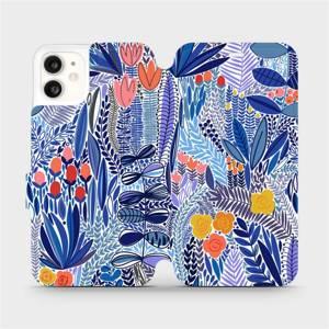 Flip pouzdro Mobiwear na mobil Apple iPhone 11 - MP03P Modrá květena