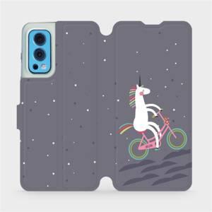 Flip pouzdro Mobiwear na mobil OnePlus Nord 2 5G - V024P Jednorožec na kole