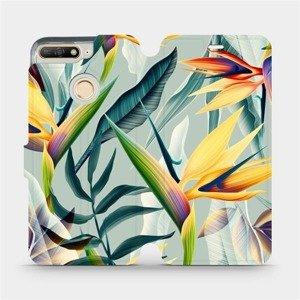 Flipové pouzdro Mobiwear na mobil Huawei Y6 Prime 2018 - MC02S Žluté velké květy a zelené listy