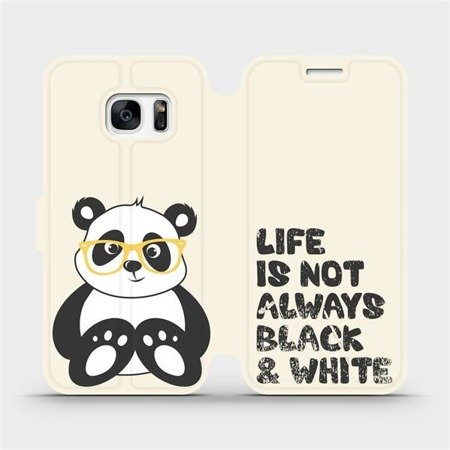 Flipové pouzdro Mobiwear na mobil Samsung Galaxy S7 Edge - M041S Panda - life is not always black and white