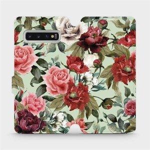 Flipové pouzdro Mobiwear na mobil Samsung Galaxy S10 - MD06P Růže a květy na světle zeleném pozadí