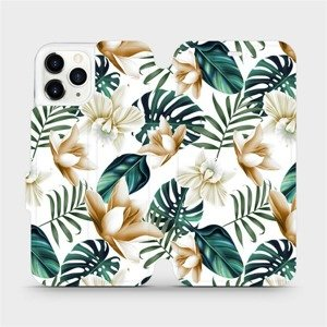 Flipové pouzdro Mobiwear na mobil Apple iPhone 11 Pro - MC07P Zlatavé květy a zelené listy