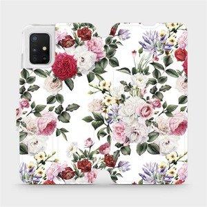 Flipové pouzdro Mobiwear na mobil Samsung Galaxy A51 - MD01S Růže na bílé