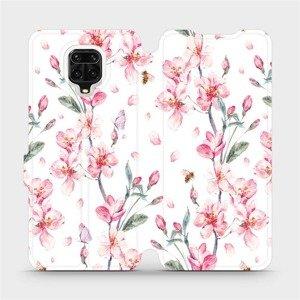 Flipové pouzdro Mobiwear na mobil Xiaomi Redmi Note 9 Pro - M124S Růžové květy