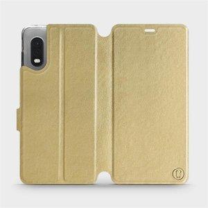 Flipové pouzdro Mobiwear na mobil Samsung Xcover PRO v provedení C_GOS Gold&Gray s šedým vnitřkem