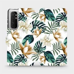 Flipové pouzdro Mobiwear na mobil Xiaomi Mi Note 10 Lite - MC07P Zlatavé květy a zelené listy