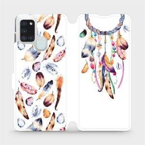 Flipové pouzdro Mobiwear na mobil Samsung Galaxy A21S - M003S Lapač a barevná pírka