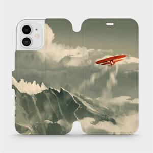 Flipové pouzdro Mobiwear na mobil Apple iPhone 12 - MA03P Oranžové letadlo v horách