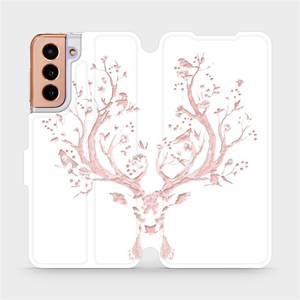 Flipové pouzdro Mobiwear na mobil Samsung Galaxy S21 5G - M007S Růžový jelínek
