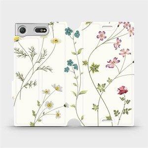 Flipové pouzdro Mobiwear na mobil Sony Xperia XZ1 Compact - MD03S Tenké rostlinky s květy