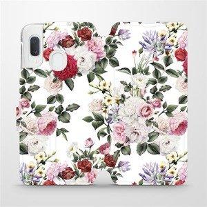 Flipové pouzdro Mobiwear na mobil Samsung Galaxy A20e - MD01S Růže na bílé