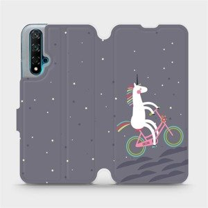 Flipové pouzdro Mobiwear na mobil Huawei Nova 5T - V024P Jednorožec na kole