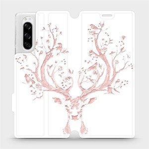 Flipové pouzdro Mobiwear na mobil Sony Xperia 5 - M007S Růžový jelínek