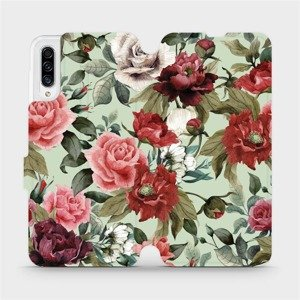 Flipové pouzdro Mobiwear na mobil Samsung Galaxy A30s - MD06P Růže a květy na světle zeleném pozadí