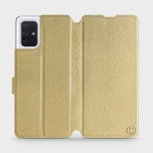 Flipové pouzdro Mobiwear na mobil Samsung Galaxy A71 v provedení C_GOS Gold&Gray s šedým vnitřkem