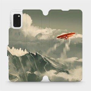 Flipové pouzdro Mobiwear na mobil Samsung Galaxy A41 - MA03P Oranžové letadlo v horách
