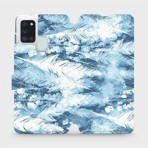 Flipové pouzdro Mobiwear na mobil Samsung Galaxy A21S - M058S Světle modrá horizontální pírka