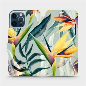 Flipové pouzdro Mobiwear na mobil Apple iPhone 12 Pro Max - MC02S Žluté velké květy a zelené listy