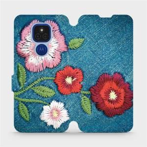 Flipové pouzdro Mobiwear na mobil Motorola Moto E7 Plus - MD05P Džínové květy