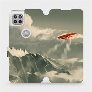 Flipové pouzdro Mobiwear na mobil Motorola Moto G 5G - MA03P Oranžové letadlo v horách