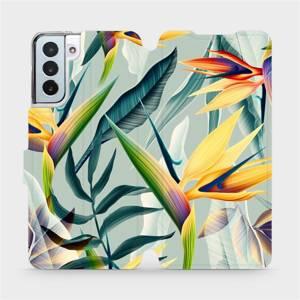 Flipové pouzdro Mobiwear na mobil Samsung Galaxy S21 Plus 5G - MC02S Žluté velké květy a zelené listy