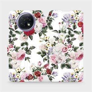 Flipové pouzdro Mobiwear na mobil Xiaomi Redmi Note 9T 5G - MD01S Růže na bílé