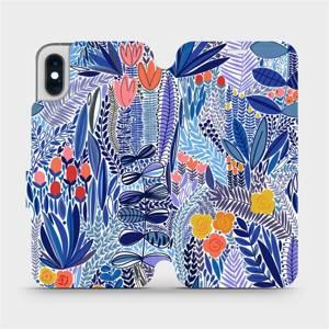 Flip pouzdro Mobiwear na mobil Apple iPhone XS - MP03P Modrá květena