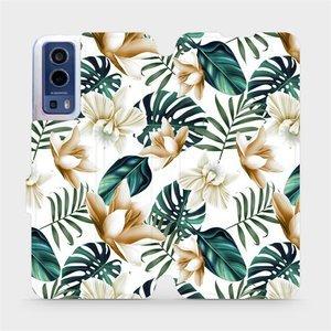 Flip pouzdro Mobiwear na mobil Vivo Y72 5G / Vivo Y52 5G - MC07P Zlatavé květy a zelené listy