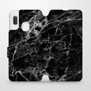 Flipové pouzdro Mobiwear na mobil Samsung Galaxy A20e - V056P Černý mramor