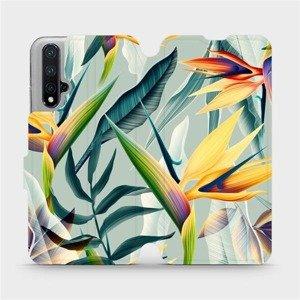 Flipové pouzdro Mobiwear na mobil Honor 20 - MC02S Žluté velké květy a zelené listy