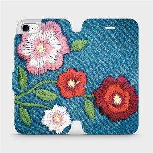 Flipové pouzdro Mobiwear na mobil Apple iPhone SE 2020 - MD05P Džínové květy