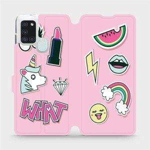 Flipové pouzdro Mobiwear na mobil Samsung Galaxy A21S - M129S Růžové WHAT