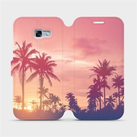 Flipové pouzdro Mobiwear na mobil Samsung Galaxy A3 2017 - M134P Palmy a růžová obloha