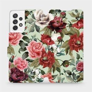 Flipové pouzdro Mobiwear na mobil Samsung galaxy A72 5G - MD06P Růže a květy na světle zeleném pozadí