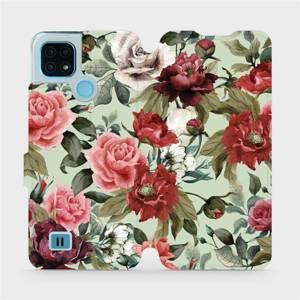 Flip pouzdro Mobiwear na mobil Realme C21 - MD06P Růže a květy na světle zeleném pozadí