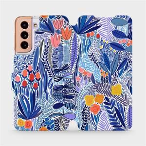 Flip pouzdro Mobiwear na mobil Samsung Galaxy S21 - MP03P Modrá květena
