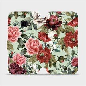 Flipové pouzdro Mobiwear na mobil Samsung Xcover 4 - MD06P Růže a květy na světle zeleném pozadí