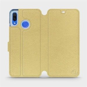 Flipové pouzdro Mobiwear na mobil Huawei Nova 3 v provedení C_GOS Gold&Gray s šedým vnitřkem