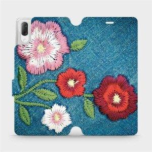Flipové pouzdro Mobiwear na mobil Sony Xperia L3 - MD05P Džínové květy