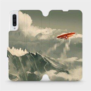 Flipové pouzdro Mobiwear na mobil Samsung Galaxy A50 - MA03P Oranžové letadlo v horách