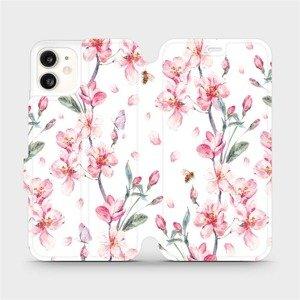 Flipové pouzdro Mobiwear na mobil Apple iPhone 11 - M124S Růžové květy