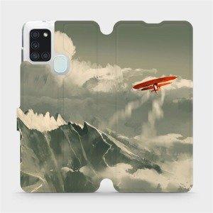 Flipové pouzdro Mobiwear na mobil Samsung Galaxy A21S - MA03P Oranžové letadlo v horách