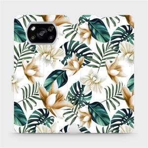Flipové pouzdro Mobiwear na mobil Xiaomi POCO X3 NFC - MC07P Zlatavé květy a zelené listy